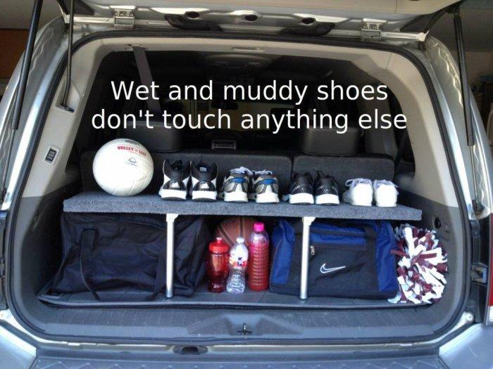 Удобная складывающаяся полка в багажник автомобиля Самоделки