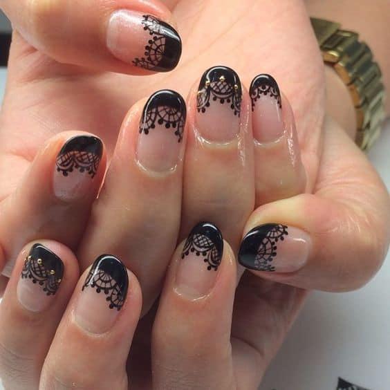 Маникюр черный френч со стразами: фото идей дизайна ногтей стиль,мода,Мода и стиль
