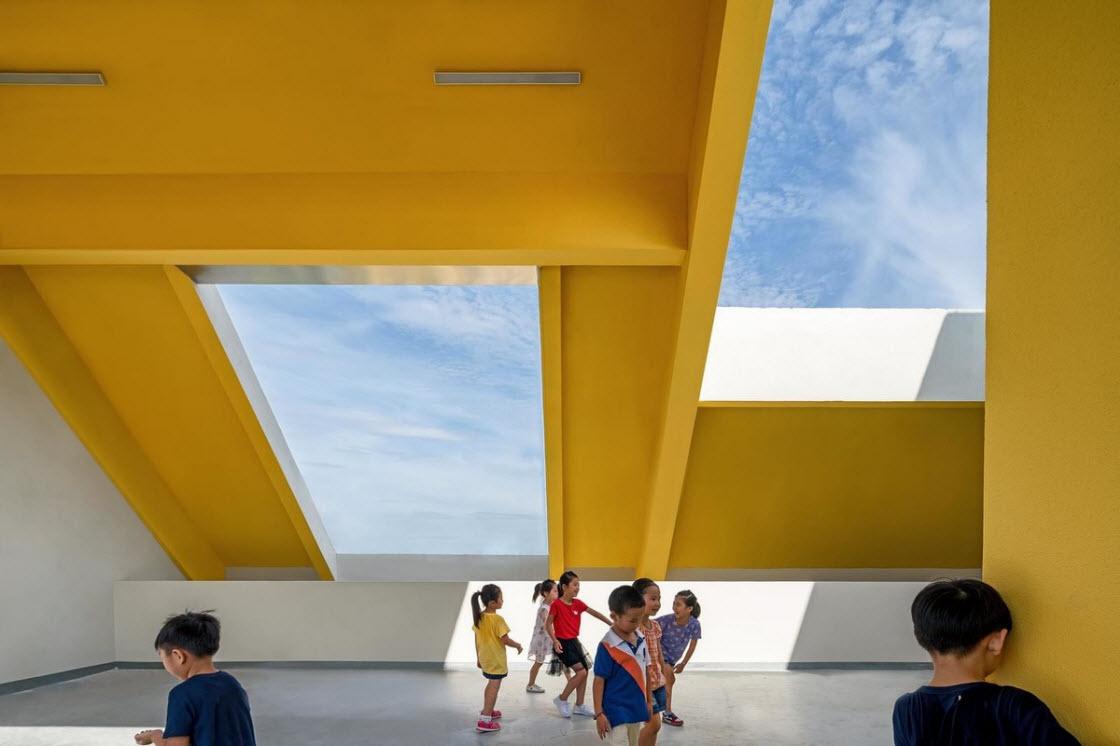 Детский сад и начальная школа в Китае архитектура,дети,детский сад,здание,Китай