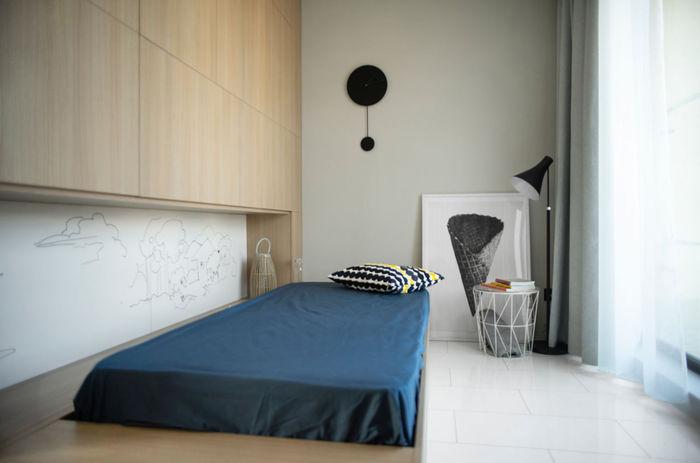 Уютная квартира 48 кв. М с эффектно скрытой спальней интерьер и дизайн,квартира,малогабаритка
